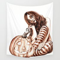 deathly hallows Wall Tapestries featuring Hallows Eve by Vinny Burkhart