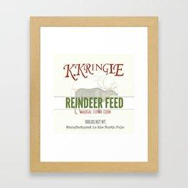 Christmas Reindeer Feed sack Framed Art Print