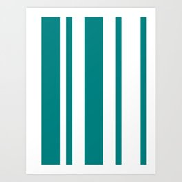 Mixed Vertical Stripes - White and Dark Cyan Art Print