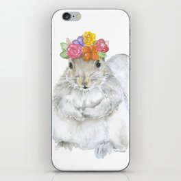 Gray Squirrel with a Floral Crown Watercolor iPhone Skin