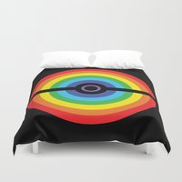 pokeball Duvet Covers featuring Rainbow Pokeball by Hi 5 Graphics