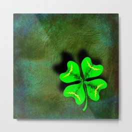 Four Leaf Clover on Green Textured Background Metal Print
