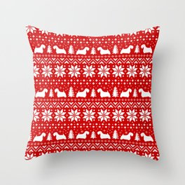 Sealyham Terrier Silhouettes Christmas Sweater Pattern Throw Pillow