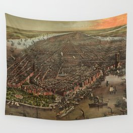Vintage Pictorial Map of New York City (1873) Wall Tapestry