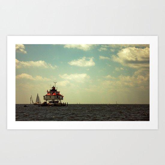 Sailing at Thomas Point Art Print