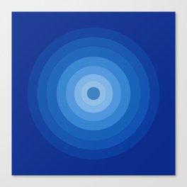 Blue Retro Bullseye Canvas Print