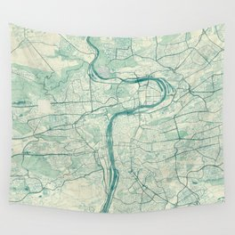 Prague Map Blue Vintage Wall Tapestry