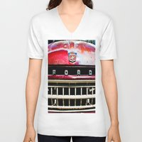 ford V-neck T-shirts featuring Old Ford by Kim Ramage