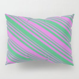 Sea Green and Orchid Colored Lined/Striped Pattern Pillow Sham