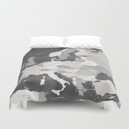 Distressed map of Europe in gray - PRINTS IN SIZES L and XL ONLY Duvet Cover