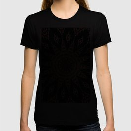 Black Red and White Bold Floral Kaleidoscope T-shirt