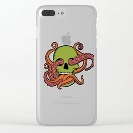 Unique Death Metal Tee With Illustration Of A Skull And Octopus T-shirt Design Sub Genre Trash Black Clear iPhone Case