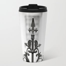 New Orleans Marigny Black and White Fence Travel Mug