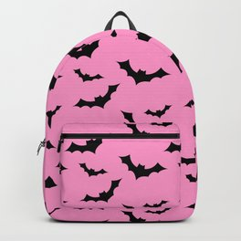 Black Bat Pattern on Pink Backpack