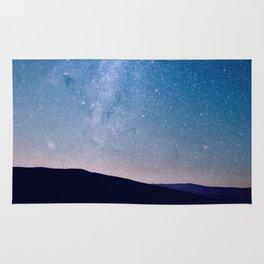 Navy blue blush pink starry night landscape Rug
