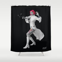 princess leia Shower Curtains featuring Princess Leia Strikes Back by Natasha Alexandra Englehardt