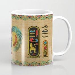 Egyptian Scarab  beetle  Ornament on papyrus Coffee Mug