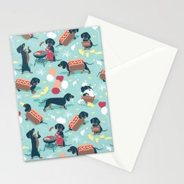 Hot dogs and lemonade // aqua background navy dachshunds Stationery Cards