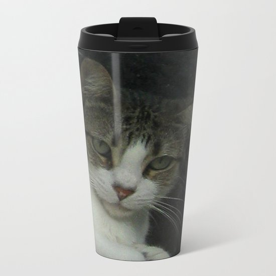 through the looking glass - cat meditating at the window Metal Travel Mug