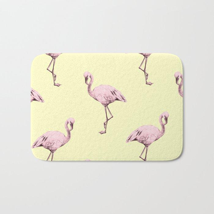 Flamingos in Flamingo Pink on Pale Yellow Bath Mat