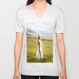 Girl in fields (digital painting) Unisex V-Neck