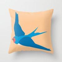 swallow Throw Pillows featuring Swallow by Graeme Luey