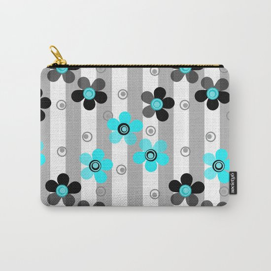 Black and turquoise floral pattern . Carry-All Pouch