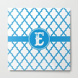 Blue Monogram: Letter E Metal Print