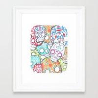 sugar skulls Framed Art Prints featuring skulls sugar by wet yeti