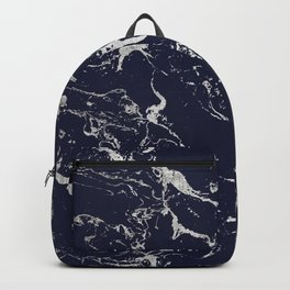 Modern navy blue silver marble pattern Backpack