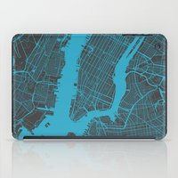 new york map iPad Cases featuring new york map by Map Map Maps