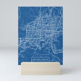 San Salvador City Map of El Salvador - Blueprint Mini Art Print