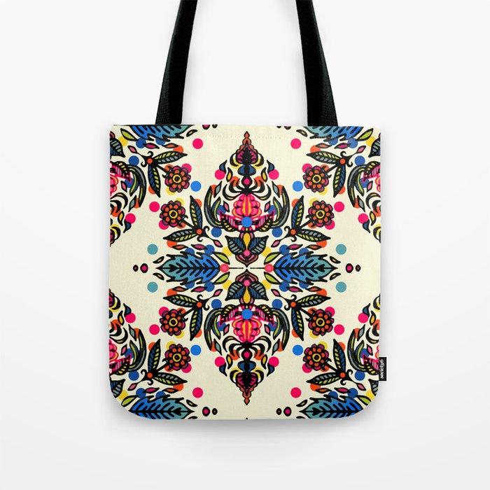 Bright Folk Art Pattern - hot pink, orange, blue & green Tote Bag