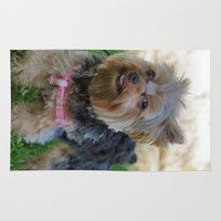 yorkie Area & Throw Rugs featuring Little Yorkie by IowaShots