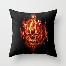 Flaming Skull Throw Pillow