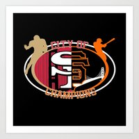 49ers Art Prints featuring City of Champions by BasiliskOnline