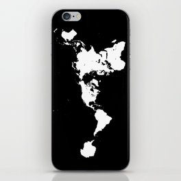 Dymaxion World Map (Fuller Projection Map) - Minimalist White on Black iPhone Skin