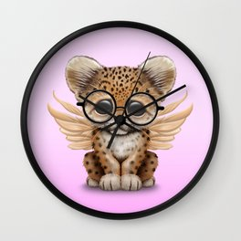 Cute Leopard Cub Fairy Wearing Glasses Pink Wall Clock