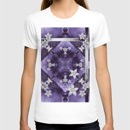 Silver flowers on purple and black textured mandala T-shirt