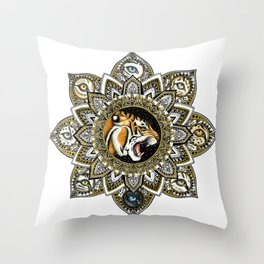 Black and Gold Roaring Tiger Mandala With 8 Cat Eyes Throw Pillow