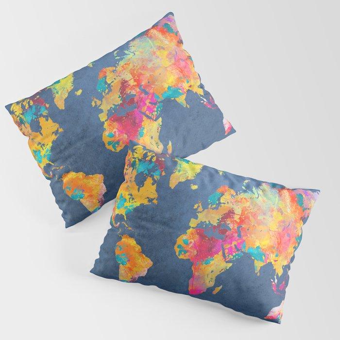 world map blue 2061 #map #worldmap Kissenbezug