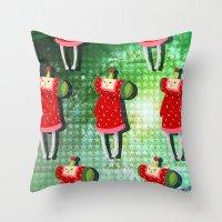 katamari Throw Pillows featuring Katamari Cousins - Ichigo by cakeisforrobots