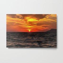 Sunset Over The Mediterranean Sea Metal Print