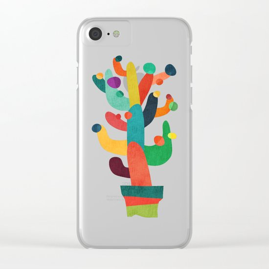 Whimsical Cactus Clear iPhone Case