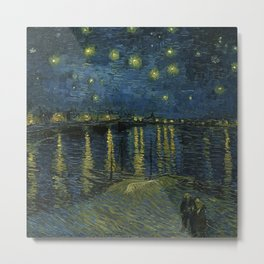 Classical Masterpiece 'Starry Night Over the Rhône' by Vincent van Gogh Metal Print