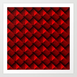 Abstract fish scales from red braided squares with bright futuristic checkers.  Art Print