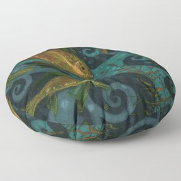 Golden Fish, Black Teal, Underwater Art Floor Pillow