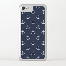 Yacht style. Anchor. Navy blue. Clear iPhone Case