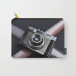Vintage camera and films on black Carry-All Pouch