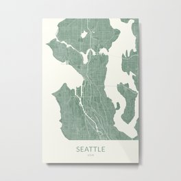 Vintage Styled Map of Seattle | Pastel Green Poster Giclée Metal Print